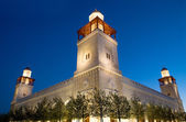 King Hussein Bin Talal mosque in Amman (at night), Jordan — Stock Photo
