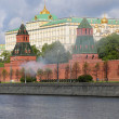 Fireworks. Rehearsal of military parade on Red Square Moscow, Russia. may, 07 2014 — Stock Photo #46668653