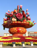 Huge flower basket in Tiananmen square,  Beijing, China — Stock Photo