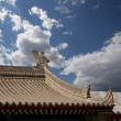 Roof decorations on the territory Giant Wild Goose Pagoda, is a Buddhist pagoda located in southern Xian (Sian, Xi'an), Shaanxi province, China — Stock Photo #48915569