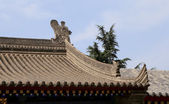 Roof decorations on the territory Giant Wild Goose Pagoda, is a Buddhist pagoda located in southern Xian (Sian, Xi'an), Shaanxi province, China — Stock Photo