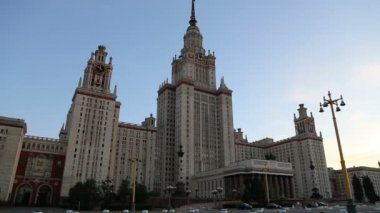 Lomonosov Moscow State University (at night), main building, Russia — Stockvideo