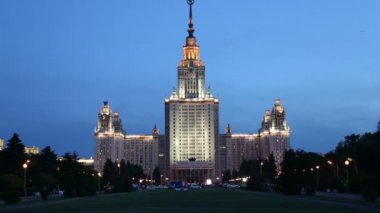 Lomonosov Moscow State University (at night), main building, Russia — 图库视频影像