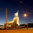 Постер, плакат: Famous soviet monument Rabochiy i Kolkhoznitsa Worker and Kolkhoz Woman OR Worker and Collective Farmer of sculptor Vera Mukhina Moscow Russia Made of in 1937