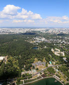 Spectacular aerial view (340 m) of Moscow, Russia. View from Ostankino television tower — Stock Photo