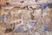 Fresco at Quseir (Qasr) Amra desert castle near Amman, Jordan. World heritage with famous fresco's. Built in 8th century by the Umayyad caliph Walid II — Stock Photo