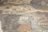 Ancient byzantine map of Holy Land on floor of Madaba St George Basilica, Jordan, Middle East — Stock Photo