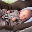 Baby Boy in Safety Seat — Stock Photo