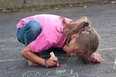 Beautiful Little Girl Painting — Stock Photo