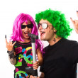 Rock Star Father And Girl Singing — Stock Photo