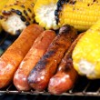 Grilled Corn And Sausages — Stock Photo