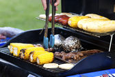 Grilled Corn, Meat And Sausages — Stock Photo