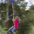 Happy Girl Canopy Tour — Stock Photo