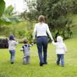 Lovely Mother With Her Children Outdoors — Stock Photo