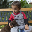 Adorable Baby And His Dog — Stock Photo