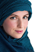 Woman with veil isolated on white backgroung — Stock Photo