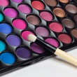 Eye shadows palette with makeup brush — Stock Photo