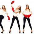 Young beautiful fashion woman boxing isolated on white backgrou — Stock Photo