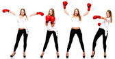 Young beautiful fashion woman boxing isolated on white backgroun — Stock Photo