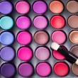 profesyonel makyaj fırçası ile renkli göz gölgeler paleti. Mak — Stok fotoğraf