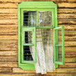 Wooden vintage green window — Stock fotografie