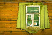 Wooden vintage green window — Foto Stock