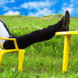 A businessman relaxing in a meadow against blue sky — Stock Photo