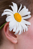 A girl with a daisy behind ear — Stock Photo