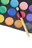 Colorful make-up palette with professional make-up brush on whit — Stock Photo