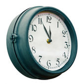 Vintage street clock isolated on white background. 5 minutes to — Stock Photo