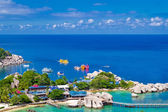 Marina pier of beautiful tropical island. — Stock Photo