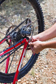 Pumping a bicycle tire — Stock Photo