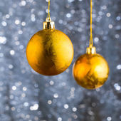 Golden Christmas balls — Photo
