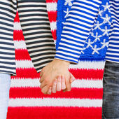 Man and woman holding hands together — Stock Photo