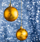 Golden Christmas balls — Foto Stock
