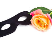 Mask and rose isolated on white — Stock Photo