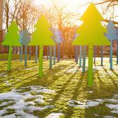 Metal modern christmas trees — Stock fotografie