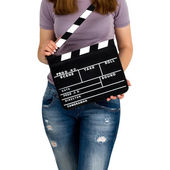 Woman holding a clapboard — Stock Photo