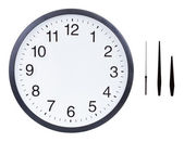 Blank clock face with hour, minute and second hands — Stock Photo