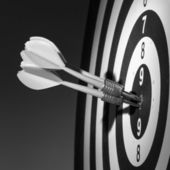 . Black and white image of darts arrows in the target center — Stock Photo