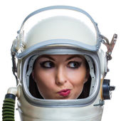 Woman in space helmet — Stock Photo
