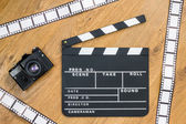 Movie production clapper board — Stock Photo