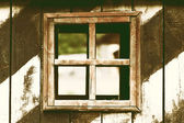 Old wooden wall with window — Stock Photo
