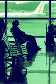 Passengers waiting for flight — Stock Photo