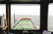 View from bridge of container ship — Stock Photo