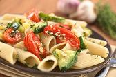 Pasta with Zucchini and Tomato — Stock Photo