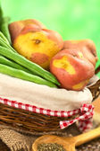 Raw Green Beans and Potatoes — Stock Photo