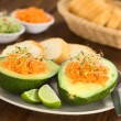 Stock Photo: Avocado with Grated Carrot and Sprouts