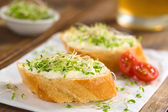 Baguette with Cream Cheese and Sprouts — Stock Photo