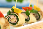 Crepe Rolls Filled with Ham and Spinach — Stock Photo